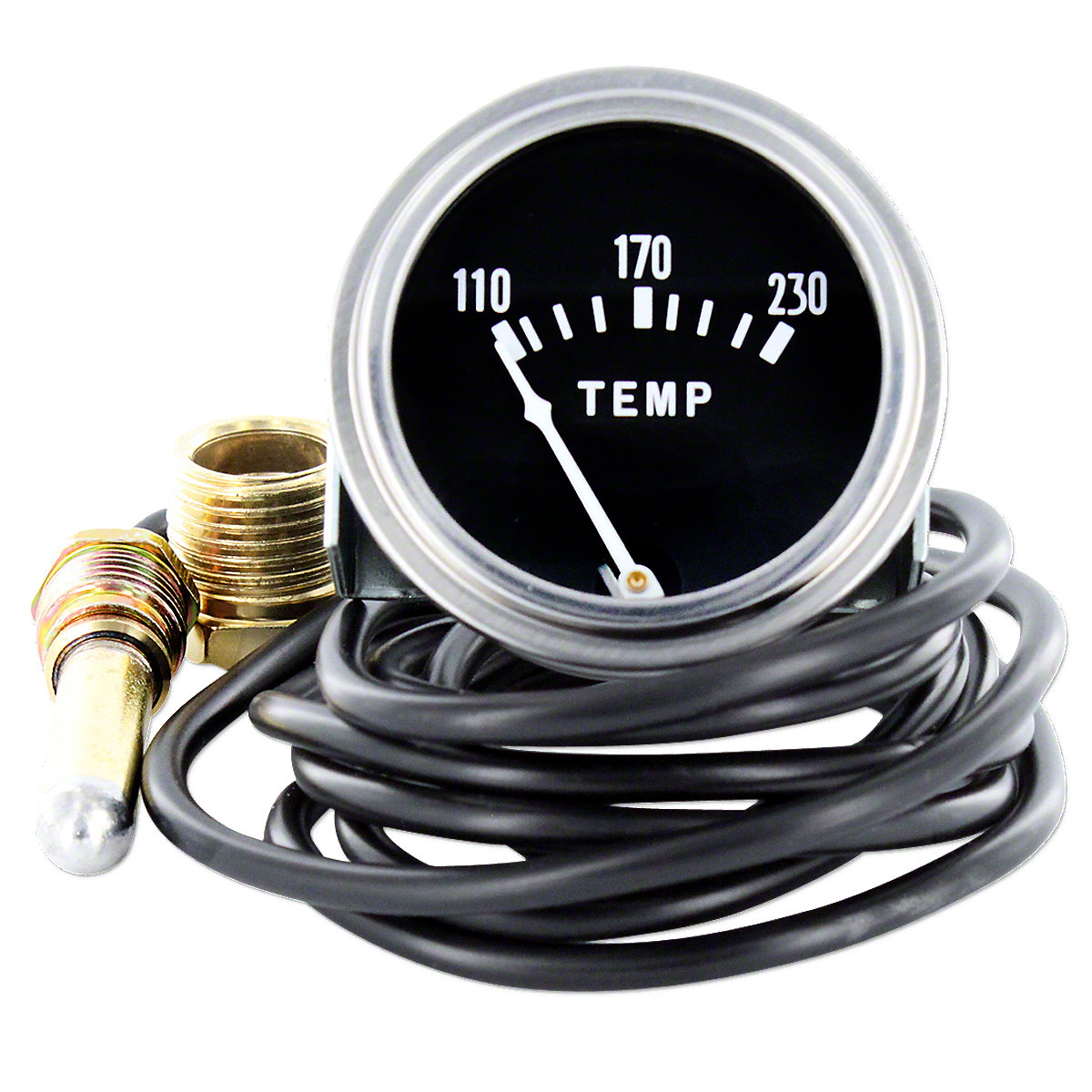Water Temperature Gauge For Massey Ferguson: 35, 50, 65, 85, 88, 135, 150, 165, 175, 180, Super 90, 40, TO35, Massey Harris:  Colt 21, I-162, I-244, I-330, Mustang 23, Pacer 16, 101 Jr, 101 Sr, 102 Jr, 102 Sr, 20, 22, 30, 33, 44, 50, 55, 81, 82, 201, 202,