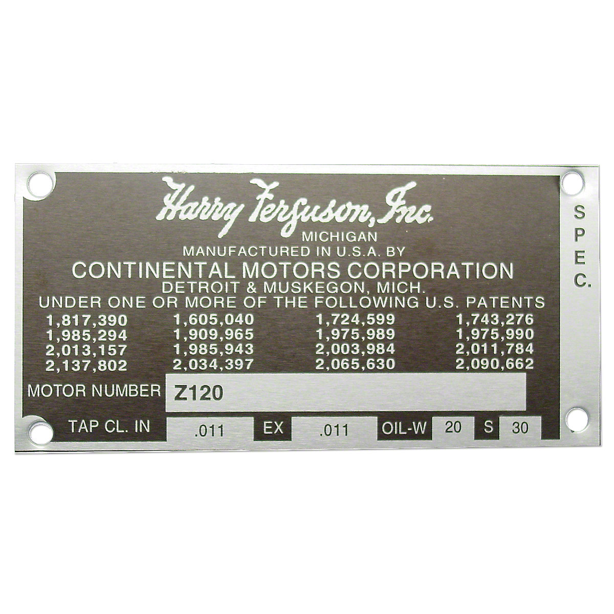 Engine Serial Number Tag With Rivets For Massey Ferguson: TE20, TO20.