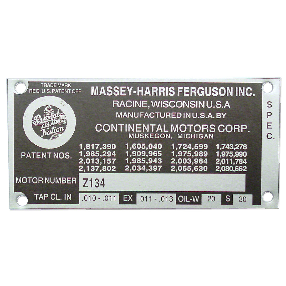 Engine Serial Number Tag With Rivets For Massey Ferguson: 40, TO35, 50, 135, 35, Massey Harris: 50.