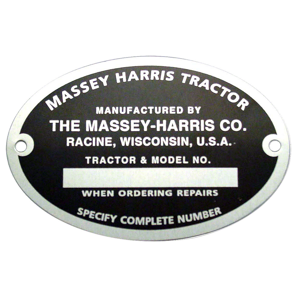 Serial Number Tag With Rivets For Massey Harris: Mustang 23, 101 Jr, 101 Sr, 102 Jr, 102 Sr, 22, 30, 44, 55.