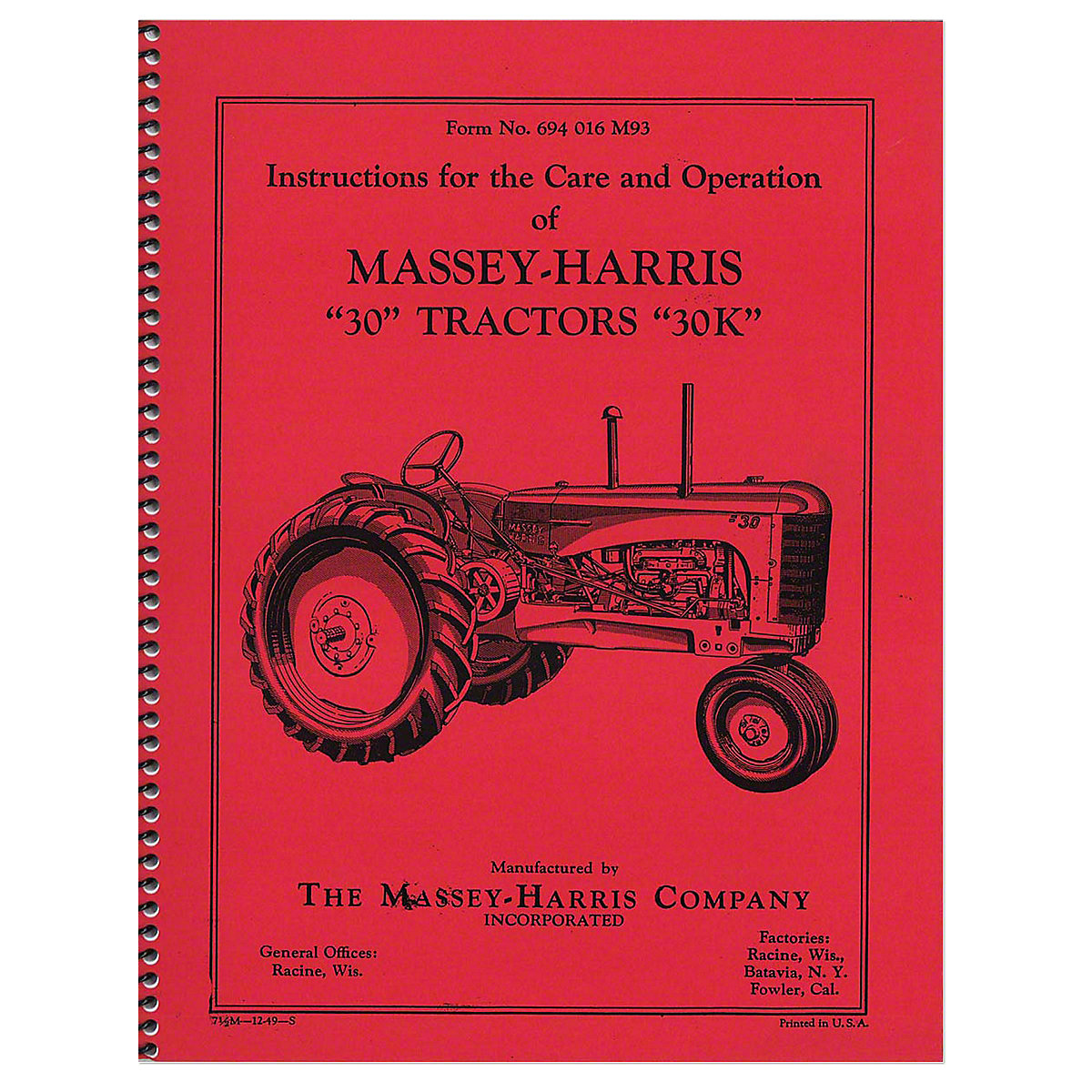 Care & Operation Manual For Massey Harris 20.