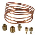 "Oil Pressure Copper Line Kit For Massey Ferguson and Massey Harris Tractors. 6 FT copper 1/8"" line --- Kit includes: (2) 5/16 - 24 UNF nut, (2) compression sleeves, (1) 1/8 - 27 NPTF female to 5/16"" - 24 UNF male adapter."