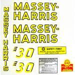 Mylar Decal Set For Massey Harris 30.