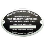 Serial Number Tag With Rivets For Massey Harris: Mustang 23, 101 jr, 101 sr, 102 jr, 102 sr, 22, 30, 44, 55. With Oval Serial Number Tags.